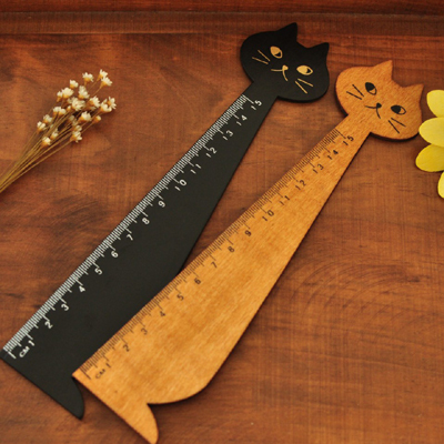 1pc/lot Zakka Cat Design Wooden Rulers 15cm Ruler Kawaii Stationery Wholesale (SS-6979)