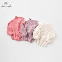 DB8972 dave bella mùa thu áo len dệt kim trẻ sơ sinh bé gái dài tay áo trẻ em áo thun đứng trẻ em dệt kim áo len
