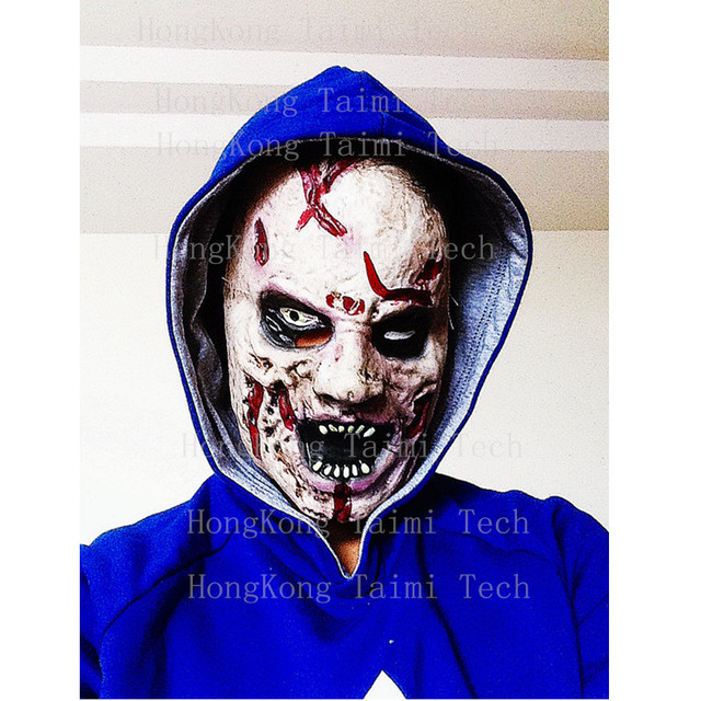 Realista Horror Scary Mask Blood Zombie Anonymous Latex soft Skull decoration adult Mascaras Joker Clown Monster Killer film boy