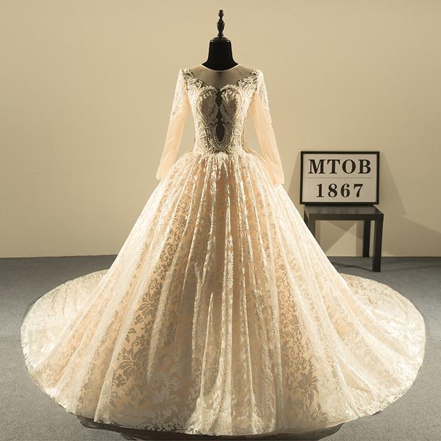 فساتين زفاف دانتيل بتصميم جديد 2019 برقبة دائرية فساتين زفاف عروس مثيرة للشمبانيا ملابس زفاف صينية للتسوق عبر الإنترنت MTOB1813