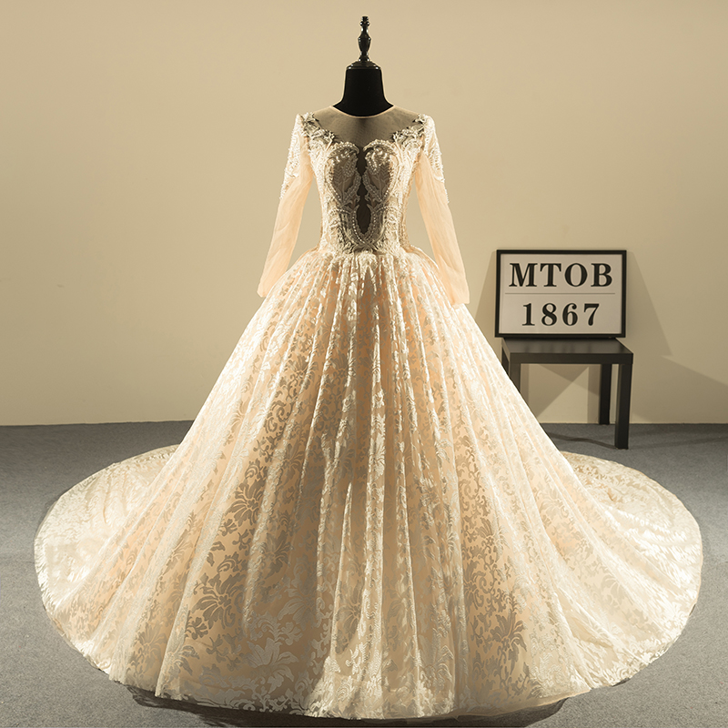 New Design Ball Gown Lace Wedding Dresses 2018 O-Neck Vintage Sexy Champagne bride Wedding Gowns China Online Shop MTOB1813