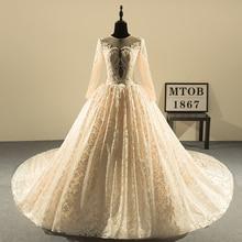 Nowy projekt suknia balowa koronki suknie ślubne 2019 dekolt w stylu Vintage Sexy Champagne suknie ślubne panny młodej chiny sklep internetowy MTOB1813