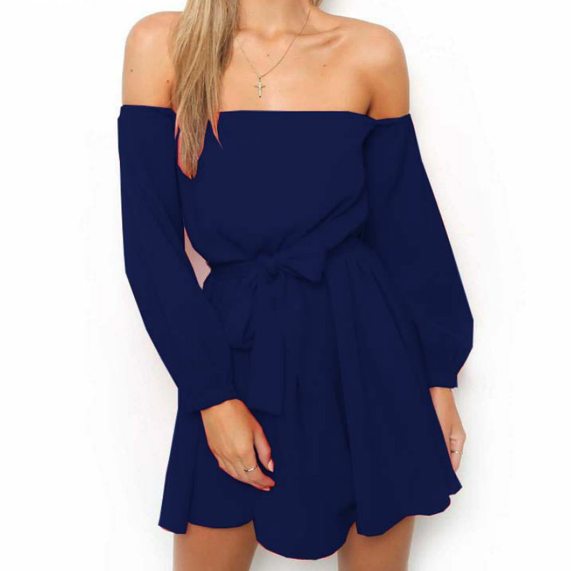 Summer Spring Chiffon <font><b>Dress</b></font> Femme Robe New <font><b>Sexy</b></font> <font><b>Slash</b></font> Neck Solid Women <font><b>Dresses</b></font> Bandage Kawaii <font><b>A</b></font> -<font><b>Line</b></font> <font><b>Dresses</b></font> Gv403 image