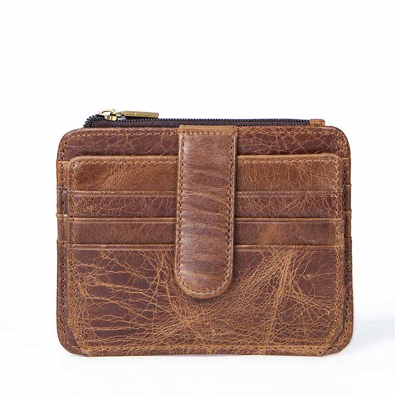 Genuine Leather Card & ID Holders Pocket Mens Wallet Male Zipper coin portfolio Card Holder Walets Mini Coin t Multi-card wallet