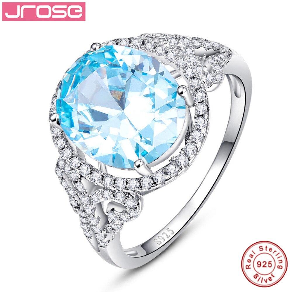 Jrose 6.5CT taille ovale Halo Style Swis bleu CZ anniversaire argent Sterling S925 bague Fine pour les femmes Sz 6-9 cadeau pour boîte