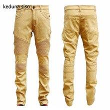2017 Hip Hop Hole Brand Jeans Mens Soft Khaki Denim Distressed Masculina Men's Slim Long Pants Rock Ripped Biker Jeans Homme