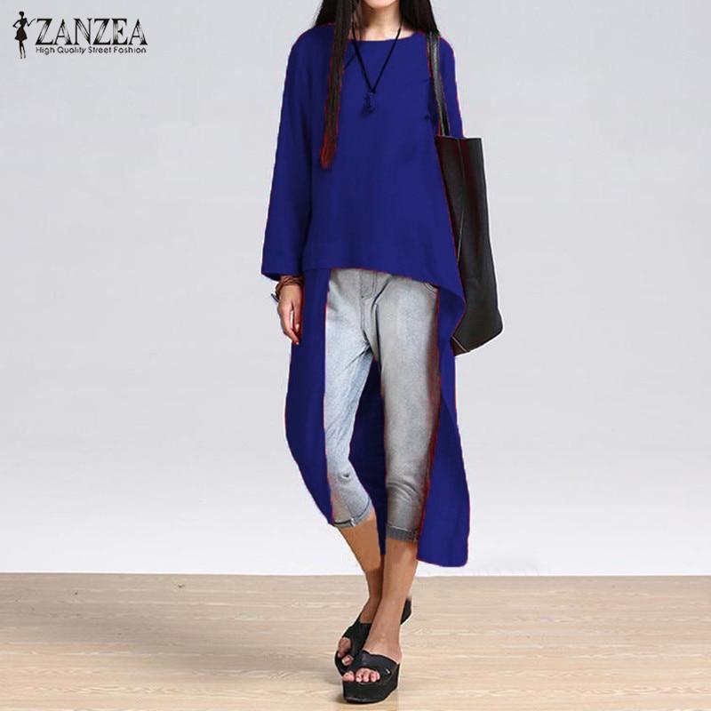 da298e248f5ce 5XL ZANZEA Plus Size Women Long Sleeve T-shirt Asymmetrical Tops Vintage  Linen Shirt 2018 Autumn Casual Loose Long Female Blusas