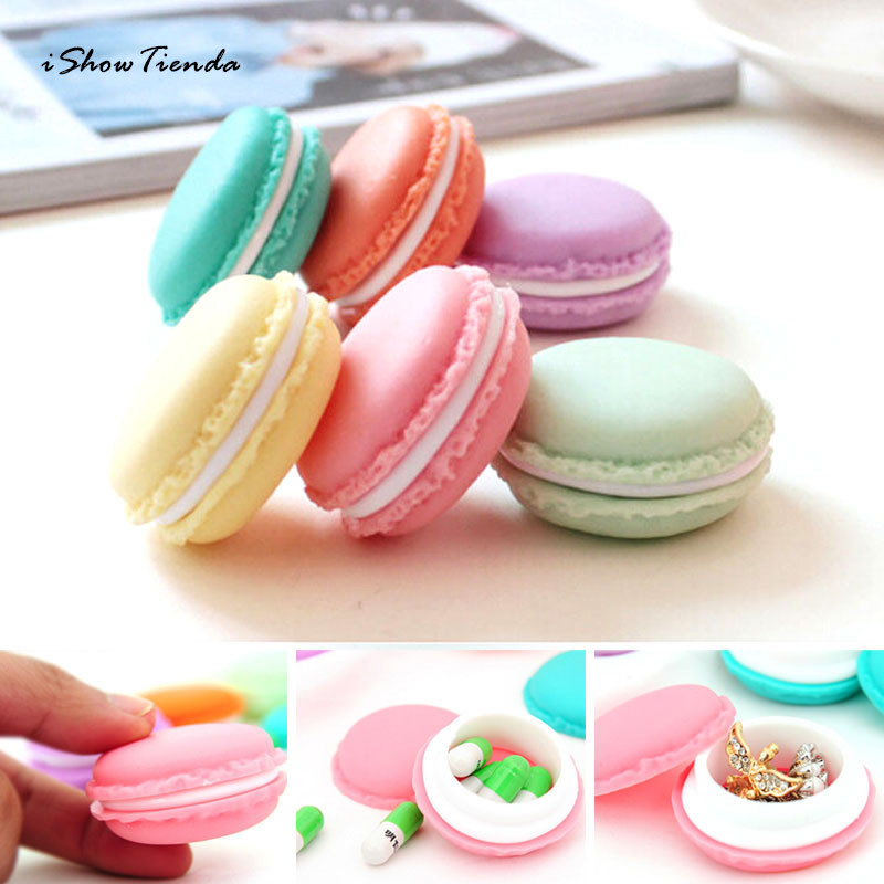 ISHOWTIENDA 6PCS 4.5*2cm Candy Color Mini Earphone SD Card Macarons Bag Storage Box Case Carrying Pouch Sweet and Cute Wholesale