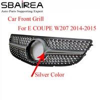 SBAIREA W207 Diamond Grill For E COUPE Car Front Racing Grill Bumper With Emblem Badge ABS Autogrill parrilla del coche