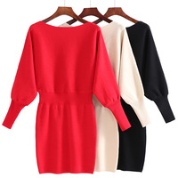 Autumn And Winter New Bat Sleeve Elastic Waist Large Size Sweater Slim Package Hip Knit Dress