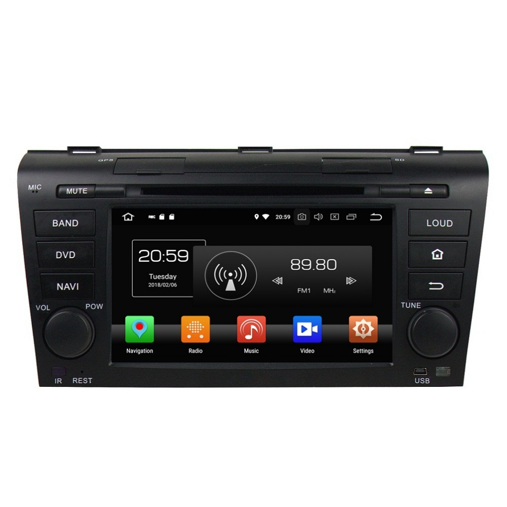 Android 8.0 Octa Core Lecteur DVD de Voiture pour Mazda 3 2004 2005 2006 2007 2008 2009 4 GO RAM Radio GPS 4G WIFI Bluetooth USB 32 GO de ROM