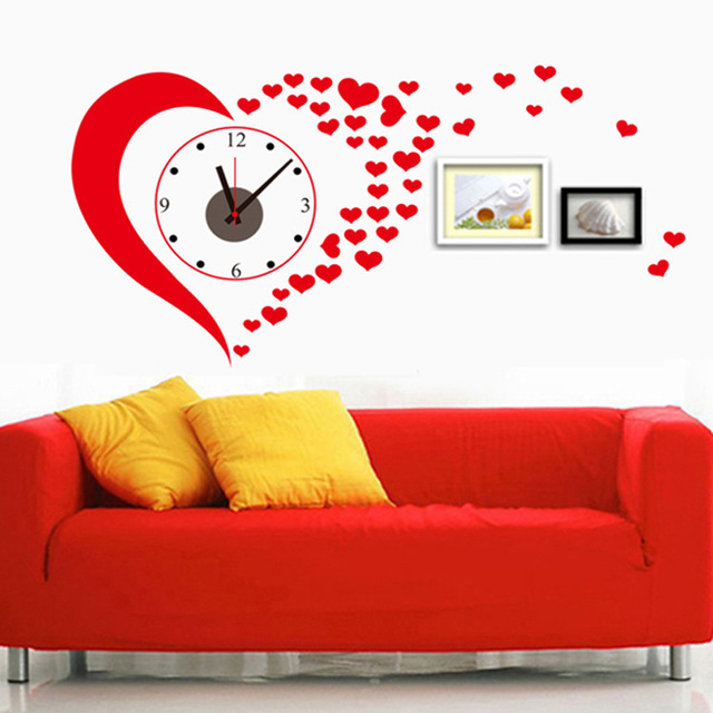Creative Diy Red Heart Wall Stickers Clock Home Decoration Living Room The Corridor Painting