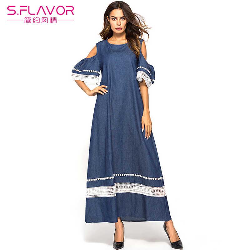 S. FLAVOR Платье женское весна лето повседневное джинсовое длинное платье без бретелек с открытыми плечами кружевное лоскутное сексуальное платье женские синие платья