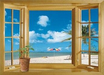 neue ankunft 3d fenster landschaft sch ne meer strand view wandaufkleber gef lschte fenster wand. Black Bedroom Furniture Sets. Home Design Ideas