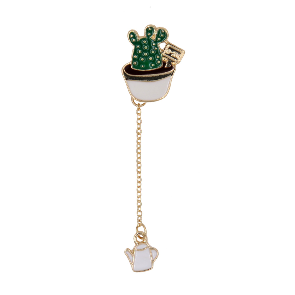 Lifelike Cute Enamel Cactus Brooch Succulent Plants Dangle Metal Chain Lapel Pin Unisex Garment Fashion Jewelry Accessory