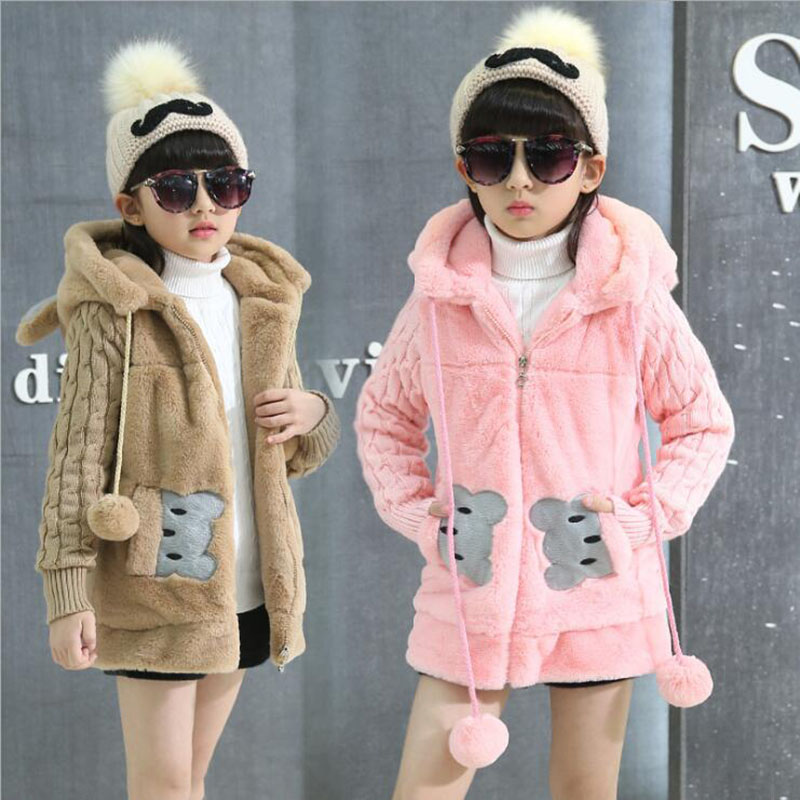 New Fashion Girls Children Kids Kawaii Lovely Jackets Winter Coats Warm Jacket Rabbit Bear Clothes Xmas Snowsuit Outerwear 4-14y цены
