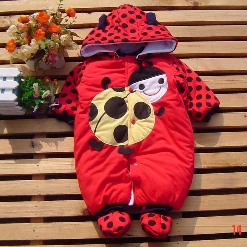 Red Ladybug Warm Rompers Winter Bebe Jumpsuit Baby Animal Costumes Wear Newborn Baby Girl Romper Baby-Clothes Infant-Clothing warm baby romper fleece costume infant clothing for newborn winter baby clothes boy girl rompers jumpsuit overalls baby costumes