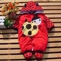 Vermelho Joaninha Macacão Quentes Inverno Bebe Macacão Fantasias de Animais Do Bebê Desgaste Do Bebê Recém-nascido Romper Do Bebê Da Menina-Roupas Infantis-roupas