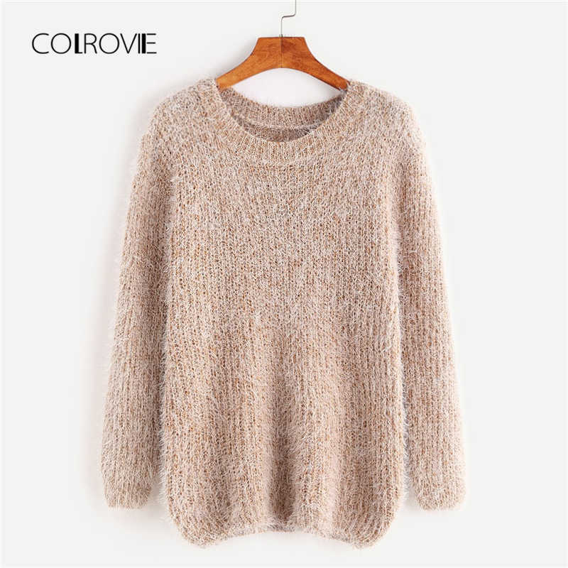 COLROVIE Fuzzy Chunky Korean Grey Knitted Sweater Women Clothes 2018 Khaki Fashion Pullover Casual Winter Jumper Ladies Sweaters