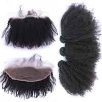 13x4 кружева Фронтальная застежка афро странный вьющиеся монгольской плетение волос 4 шт. 3 человеческих волос пучки с закрытием реми Cara волос