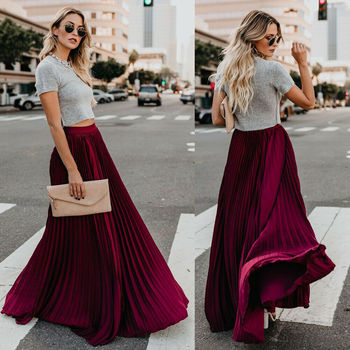 Women Chiffon Elegant Pleated Long Maxi High Waist Summer Ladies Girls Beach Boho Vintage Elastic Waist Casual Skirt