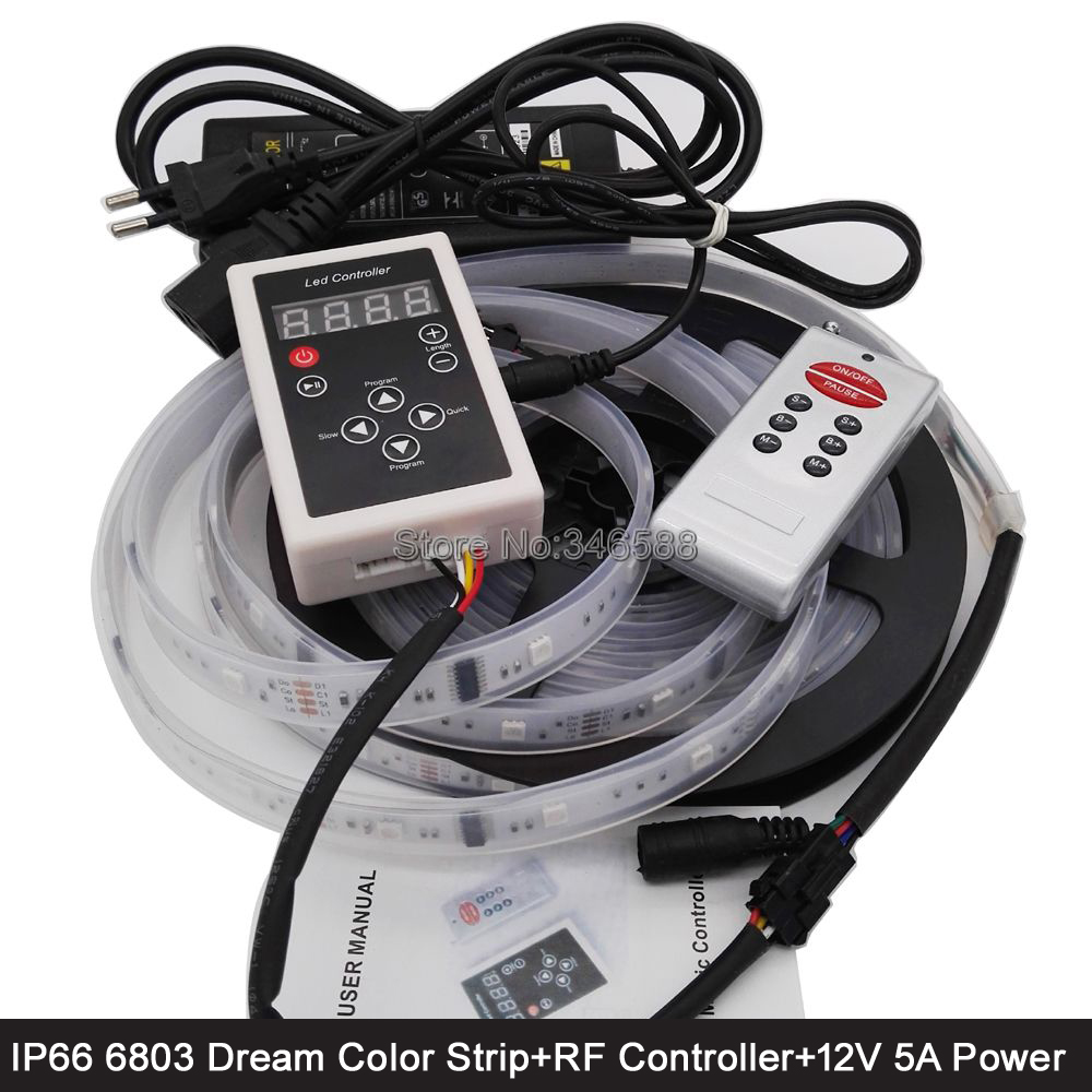 5M 12V 6803 IC Magic Dream Color LED Strip IP66 Waterproof + 133 Program RF Remote Controller + 12V 5A Power Adaptor Full Set 5m dc12v 5050smd 150leds ldp6803 ic magic dream color ip66 silicone waterproof flex led strip 133 programs rf remote controller