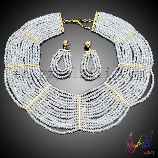 Free shipping!!white beaded jewelry set factory wholesale beaded jewelry set popular bridal's beaded set