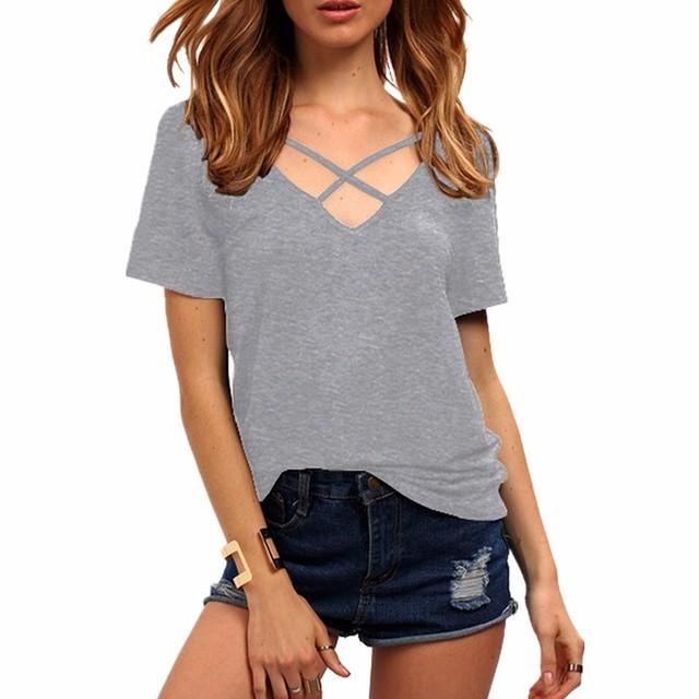 Women Short Sleeve V Neck Bandage Casual Sexy T Shirt