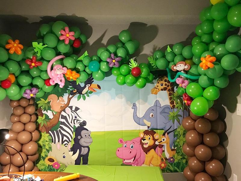 Jungle Safari Theme Animals Birthday Party Banner Backdrop Forest Wall Decor Photo Background Studio Poster Xt 6521