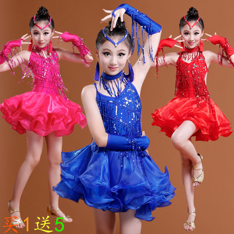 New Sale Sequin Fringe Latin Dance Dress Bachata Latin Salsa Dresses Junior Child Kids Girls Latin Dance Costumes