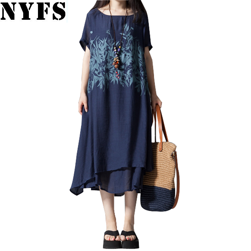 2018 New Summer dress short Sleeve Printing Cotton Linen Ladies Casual Vintage women dress Female Plus Size Vestidos Robe