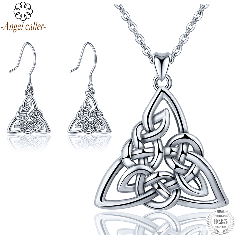 Angel Caller Real 925 Sterling Silver Triangle Jewelry Sets Celtics Knot Pendant Necklace Drop Earrings Fine Jewelry for WomenAngel Caller Real 925 Sterling Silver Triangle Jewelry Sets Celtics Knot Pendant Necklace Drop Earrings Fine Jewelry for Women