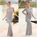 Três Peças Plus Size Barato Cinza Mãe Da Noiva Pant ternos 2016 Vestido Mãe Pant Suit Festa de Casamento Chiffon Mulheres Roupas