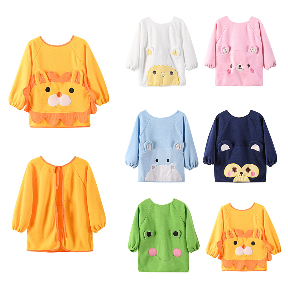 Cartoon Colorful Baby Bibs Long Sleeve Winter Fleece Art Apron Animal Smock Children Bib Burp Clothes Soft Child Feeding Towel