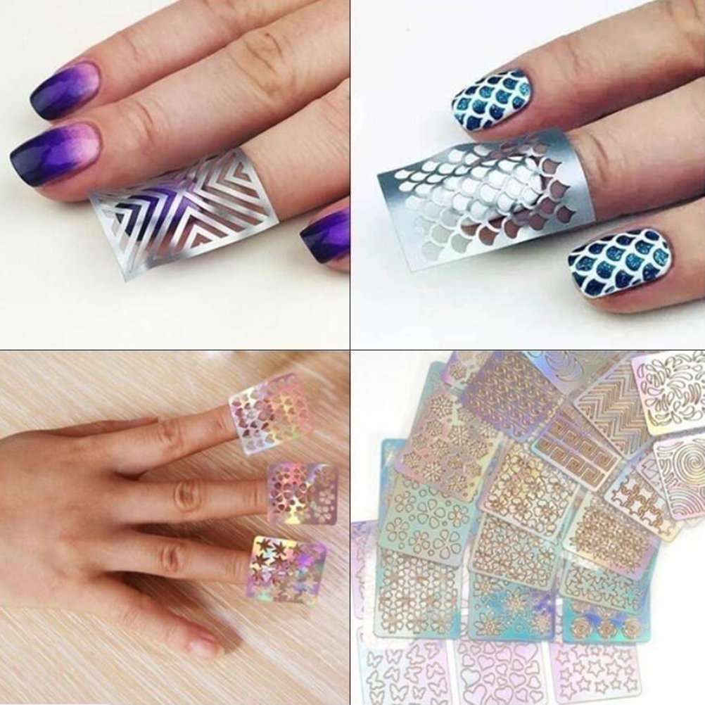 Image 4 - 24 Sheets DIY Nails Stamping Template Nail Stickers Irregular Grid Stencil Reusable Nail Art Vinyls Hollow Stickers NailStickers-in Stickers & Decals from Beauty & Health