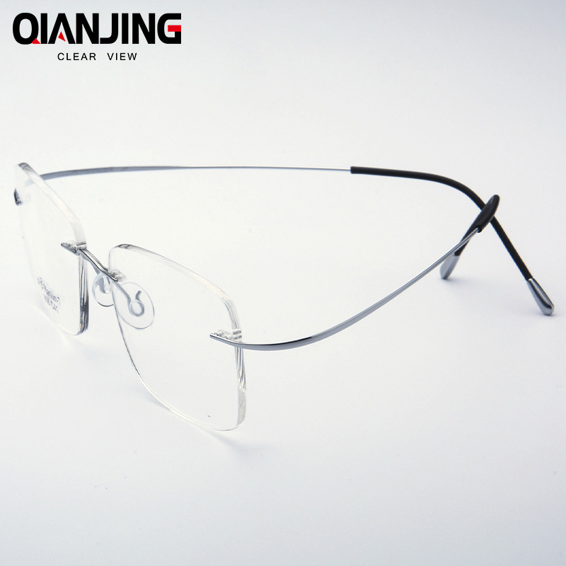 QJ Pure Titanium Eyeglasses Rimless flexible Optical Frame Prescription Spectacle Frameless Glasses Eye glasses 010 Line Temple