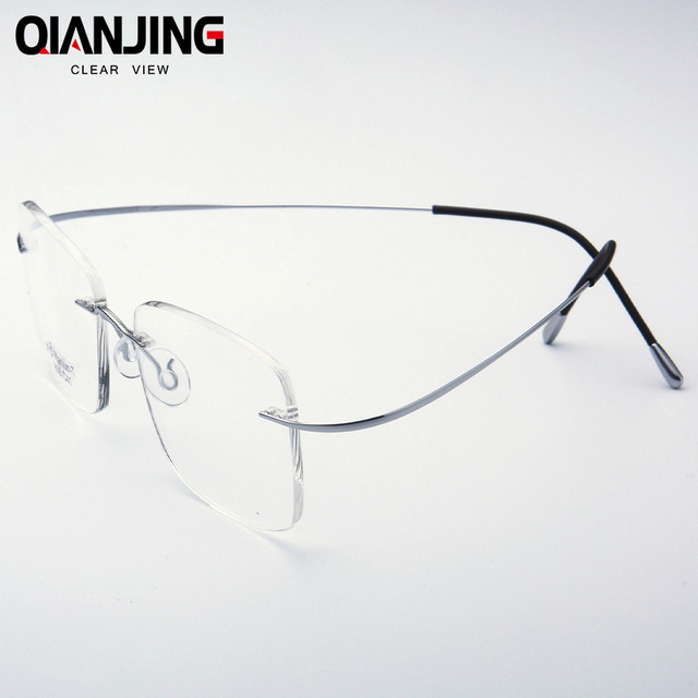 f59f9d041ee QJ Pure Titanium Eyeglasses Rimless flexible Optical Frame Prescription  Spectacle Frameless Glasses Eye glasses 010 Line Temple