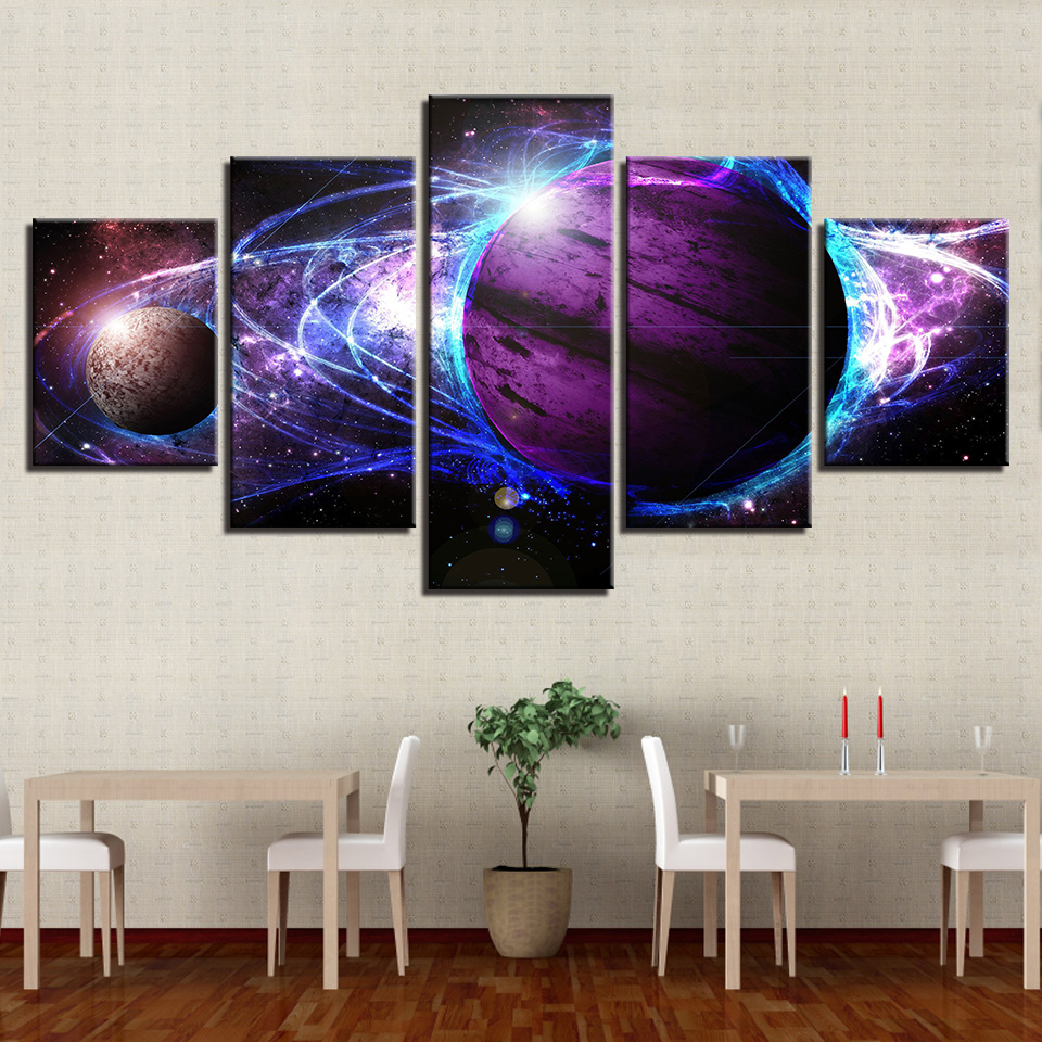 5 Pieces Universe Space Planet Galaxy Abstract Pictures Canvas Prints Paintings Wall Art Poster Framework Home Decor Living Room