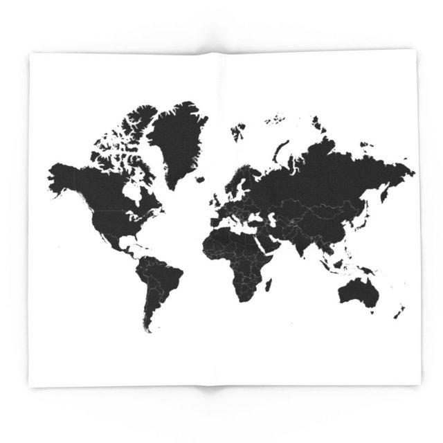 Minimalist World Map Black On White Background 88