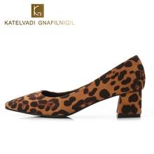 KATELVADI Womens Shoes Leopard Flock 5CM Square Heels Office Lady Pumps Med Heel Fashion Sapato Feminino K-333
