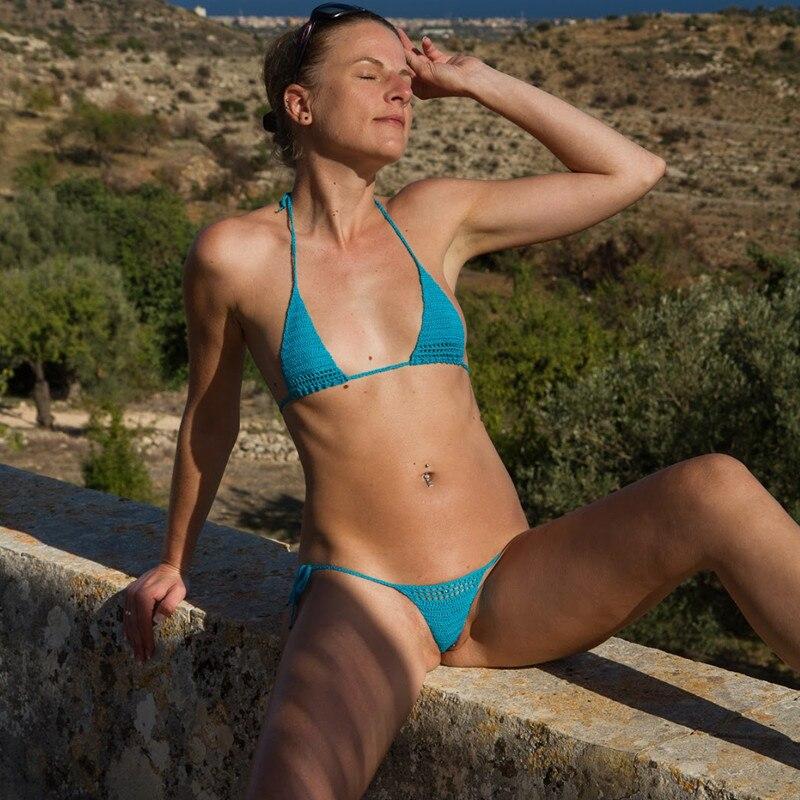 13 Color Hand Crochet Sunbathing Mini Bikini Women Sexy Micro Swimwear Lingerie Sets