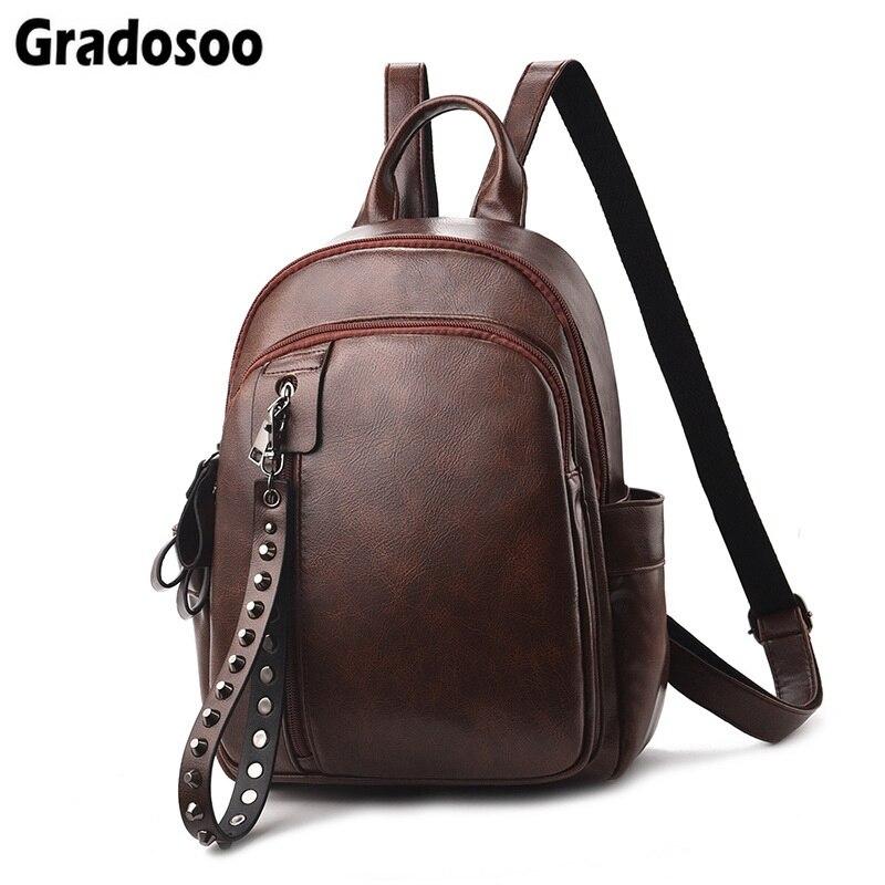 Gradosoo Fashion Rivet Design Mini Backpack Women High Quality PU Leather Backpack Female Casual Travel Bag For Girls LBF194
