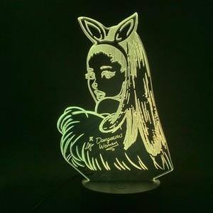 Image 2 - 3D lampa stołowa Nightlight Celebrity Singer Ariana Grande plakat kot dzieci prezent dla sypialni dekoracyjne 3D Led lampka nocna