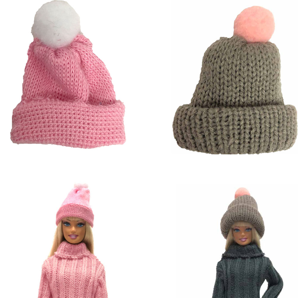 NK 2 Pcs /Set Doll Hat  Handmade Knit Cute Cap Daily Wear Accessories  For Barbie Doll Accessories Gift Baby DIY  Toys  004