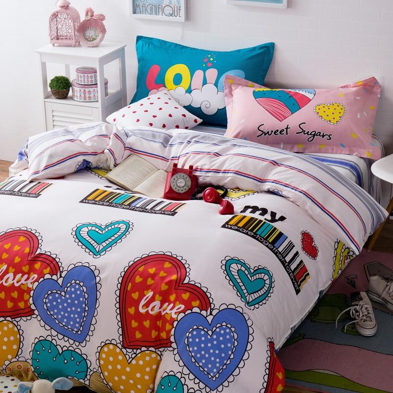 colorful heart pattern girl bedclothes cotton size bedding sets 4pcs duvet cover pillowcase bed sheet