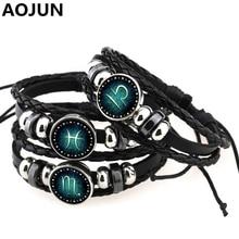 AOJUN Jewelry Snap Bracelet 12 Constellation Charm Bracelets Leather Bracelet Metal Punk For Women Girl Mens Bracelets 2016