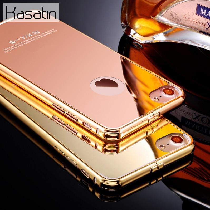 imágenes para 2017 Nueva Marca de Lujo para el iphone 7 de Oro Rosa Espejo Parachoques caso para el iphone 7 Plus Glitter Cubierta Protectora De Aluminio Con El Logotipo