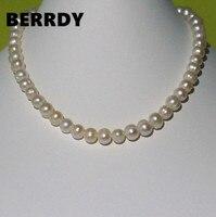 Настоящая жемчужина 9-10 мм Размер жемчуга 100% подлинное пресноводное культивированное жемчужное ожерелье для милой леди женский подарок Гор...