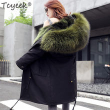 Tcyeek 2019 Real Fur Coat Winter Jacket Women Long Parka Big Natural Raccoon Fur Hooded Thick Warm Real Fox Fur Liner LWL1069(China)