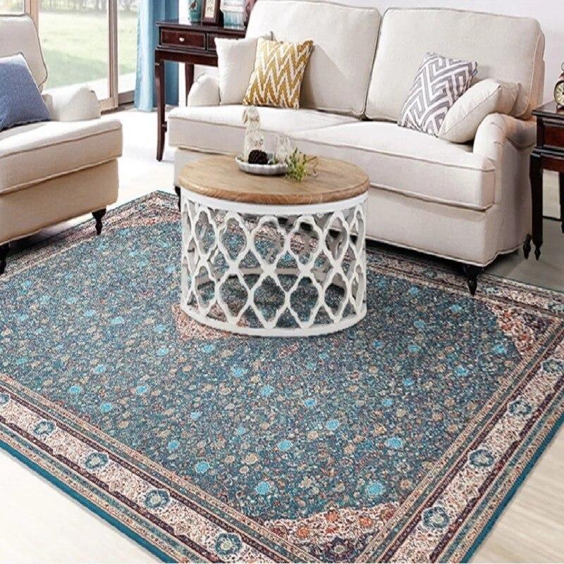 Slash ventes rétro style classique bleu floral salon tapis 120*160 cm, persan décoration de la maison tapis de sol
